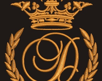 """Crown, laurel wreath and the monogram letter """"D"""" - Machine embroidery design,   design tested."""