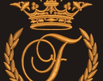 """Crown, laurel wreath and the monogram letter """"F"""" - Machine embroidery design,   design tested."""