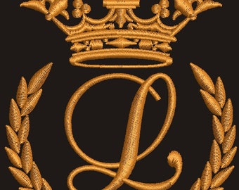 "Crown, laurel wreath and the monogram letter ""L"" - Machine embroidery design,   design tested."