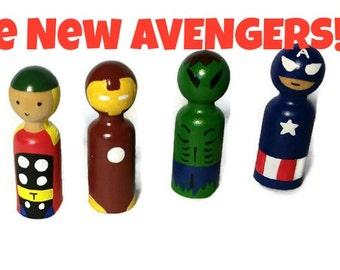 The Avengers, Thor, Captain America, Ironman,Hulk. Peg Dolls, Peg People, Superheros, Super Heros,Kids Wooden Toys,