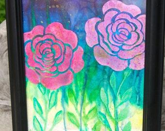 Roses Original Mixed Media Painting, 11x14 Framed Canvas Art
