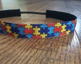 Autism awareness no slip headband. Autism headband, women's autism headband, girls autism headband, hair accessory, autism non slip headband