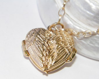 Angel Wings Heart Locket Pendant Engraved Message Inside Set with a Chain14 K Gold Plated