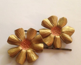 Leather and Brass Flower Hairpin
