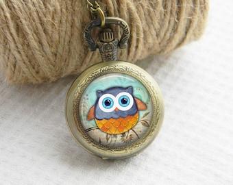 Owl Pocket Watch Necklace Art Photo Pendant Watch Locket Women Necklace (070)