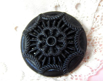 Molded Fabric Look Black Glass Button with Textured Finish