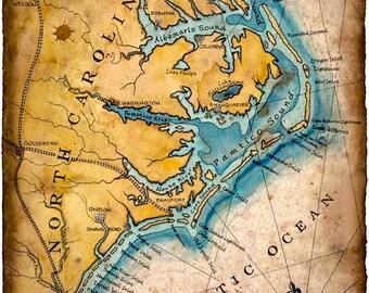 North Carolina Coast Map Art c.1862 11 x 15 +- Hand Drawn Carolina Map - North Carolina - Tarheels - Outer Banks - Wilmington - Cape Lookout