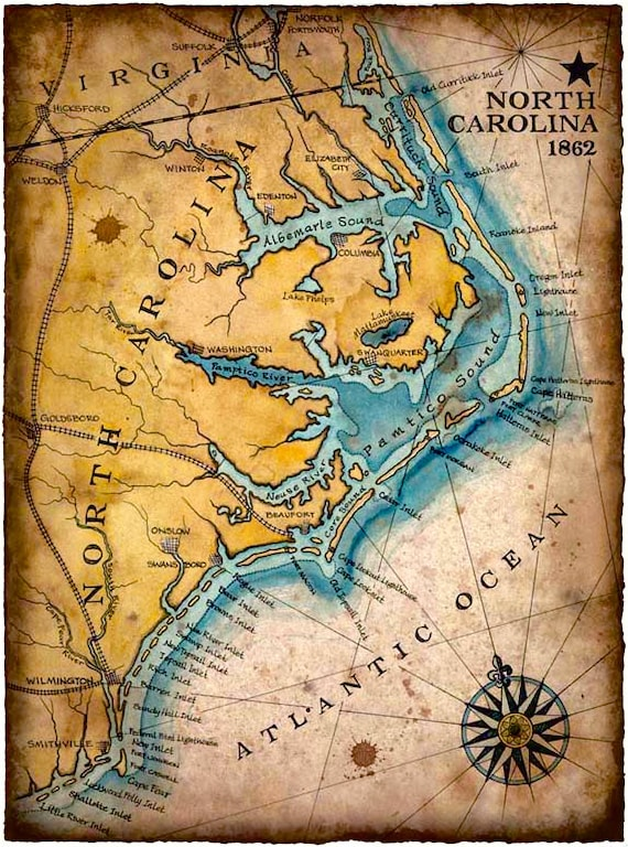 North Carolina Coast Map Art C X Hand Drawn - Map of north carolina coast