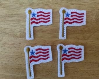 """Flag,  Felt Embellishment, set of 4, Felties 1.75"""" x 2""""."""