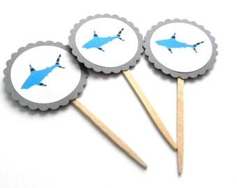 12 Shark Toppers, Shark Theme, Cupcake Picks, Shark Birthday, Summer Birthday, Shark Week, Under the Sea, First Birthday, Shark Party