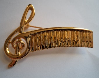 Fabulous Unsigned Goldtone Treble Clef and Musical Notes Brooch/Pin