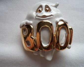 Vintage Signed AJC Goldtone/White Musical Ghost Brooch/Pin