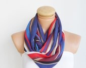 Blue,Red, White, Blackcolor scarf, infinity loop scarf...