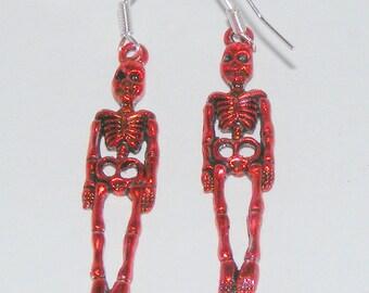 Red Skeleton Dangle Earrings, Walking Dead, Blood, Skulls, Halloween, Jason, Freddie, Fashion, Ghoulish, Zombie, Dead, Undead, Red, Unusual