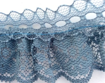 "1 1/2"" Vintage Gray Lace, 5 Yards, Ruffled Lace, Grey Lace"