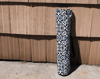 Yoga Mat Tote Bag Black White Gray Cotton Twill