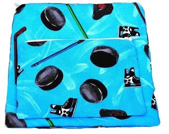 Reusable Sandwich Snack Bags set of 2 Zipper Blue Hockey  Skates Sticks Pucks