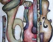 Musical Art Original Painting / Musical Artwork / Original Watercolor and Ink / 17 x 12 IN