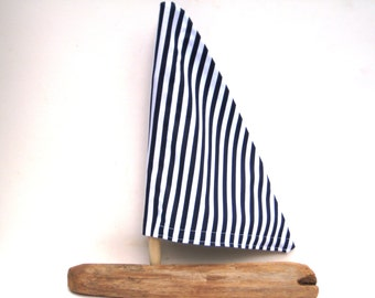 Wood Boat Wooden Toy Sailboat Blue Stripes Driftwood Sailboat Driftwood Boat Driftwood Art Nautical Decor Boat Photo Prop Gift For A Sailor
