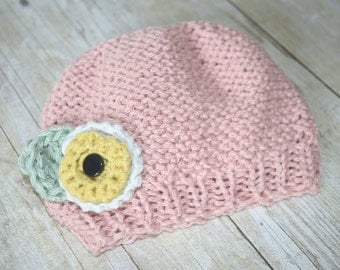 pink knit hat, newborn hat, knit hat, custom baby hat, knit flower hat, crochet baby hat, knitted baby, baby beanie, photo prop, striped hat