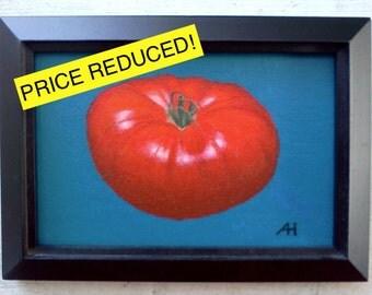 "Original ""Bright Red Tomato"" Acrylic Painting, 4""x6"""