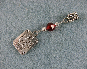 Dreadlock charm dangle with skull and red crystal