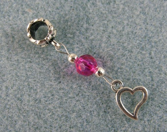 Dreadlock charm dangle with tiny heart and pink crystal