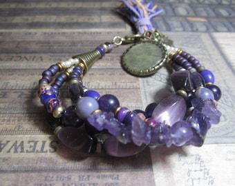 Brass and Lavender, Chunky, Boho, Gypsy, Beaded Bracelet