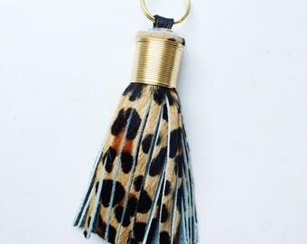 The Original Large Leopard Print Leather Tassel Keychain
