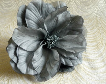 Large Slate Gray Cabbage Rose Double Petal Silk Flower for Weddings Hats Gown Sash Fascinator Hair Clips 3FN0088GR