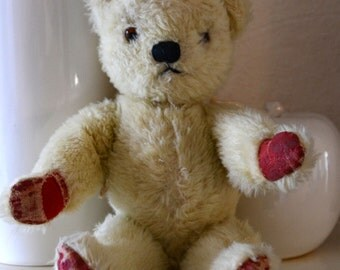 Vintage English White Plush Teddy Bear by Chad Valley (c.1950's)