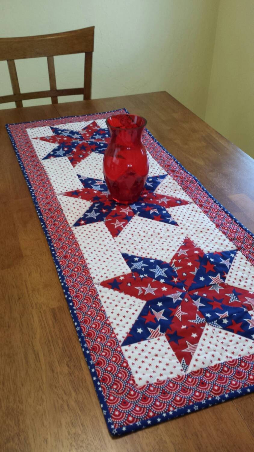 patriotic table runner red white and blue table runner. Black Bedroom Furniture Sets. Home Design Ideas