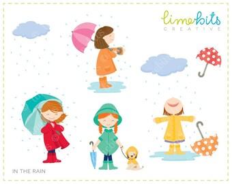 In the Rain Girls Clip Art