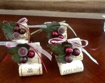 Winter Cork place card holders.... Namecard holders.  Christmas ~~Holiday table setting~~~Set of 4