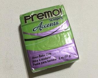 PREMO Sculpey Accents Polymer Clay - 5035 Bright Green Pearl - 2oz Single Block