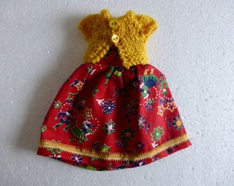 Hand Made Neo Blythe or Bratz Doll Red Navy Floral with Ric Rac Trim and Matching Mustard Knitted Short Sleeve Cardy