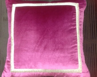 Sahco Devon Raspberry Silk Velvet Decorative Pillow