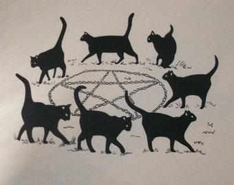 S - XL Black Cat Pentagram Pentacle Wiccan Pagan T-Shirt BL Choice of Shirt Color
