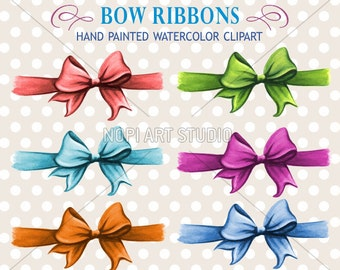 Bows Clip Art Set, Gift Bow Clipart, Ribbon Bow Clip Art, Birthday Bow Clipart, Scrapbooking DIY, Hand Painted Colorful Watercolor Bows