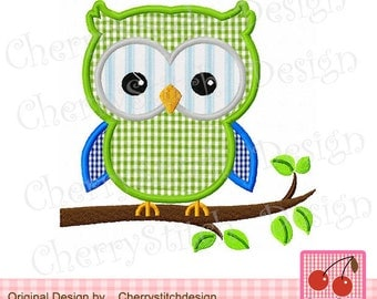 Owl on a branch Machine Embroidery Applique Design -4x4 5x5 6x6""