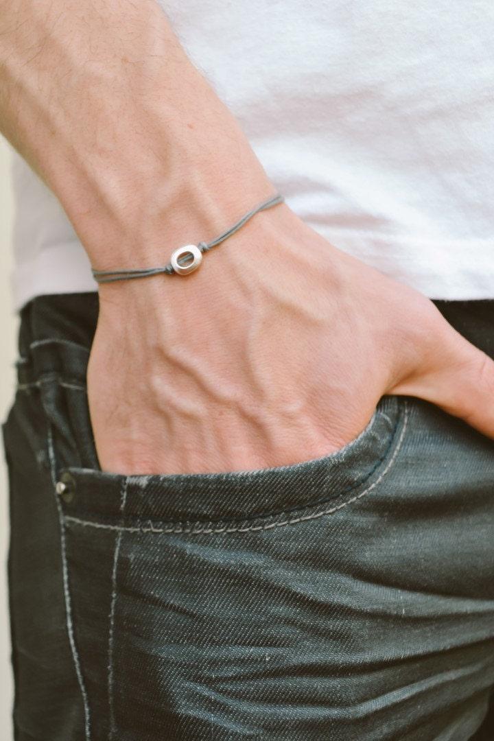 bracelet homme bracelet cordon gris pour homme argent rond. Black Bedroom Furniture Sets. Home Design Ideas