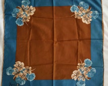Vintage Vera Ladybug Steel Blue and Ocher Floral Scarf