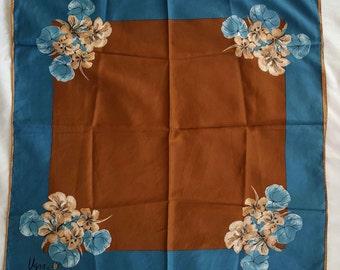 Vintage Vera Ladybug Steel Blue and Ocher Floral Scarf