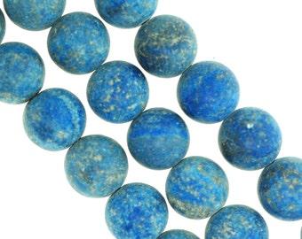 Matte Lapis,Natural matte lapis,Lapis beads, Blue lapis beads, Blue beads. Available 3 sizes.
