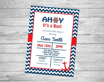 Ahoy It's a Boy Baby Shower Invitation- Personalized Digital File