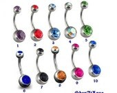 Double Jeweled Titanium Belly Button Ring