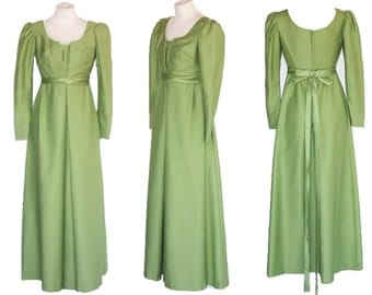 60s Dress EMMA DOMB Vintage Green Couture Gown Empire Waist S to M Free Domestic and Discounted International Shipping