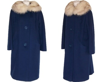 50s to 60s Coat Fox Collar Vintage Blue Wool Stroller Coat LM to L Free Domestic and Discounted International Shipping