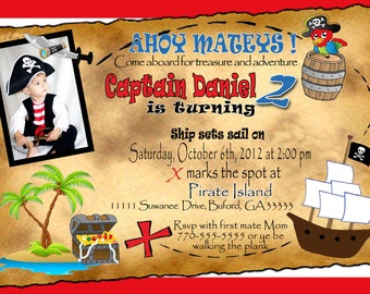 Pirate theme birthday party Invitation. Customized with picture and personal information