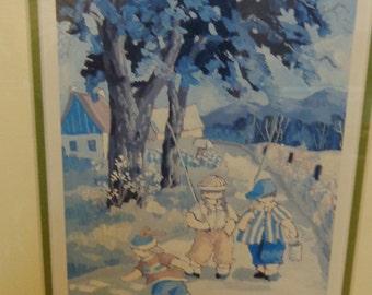 P T Paquin framed art print Les Pecheurs children going fishing very sweet Quebec artist